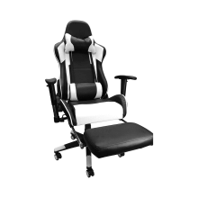 Racing Style Game Chair Reclining Gaming Chair Ergonomic Computer Chair for Gamer with Head Cushion Adjustable Armrest and Footrest - White