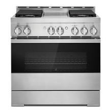 """See Details - 36"""" NOIR™ Gas Professional-Style Range with Chrome-Infused Griddle"""