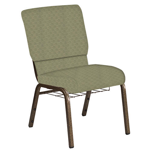 Flash Furniture - 18.5''W Church Chair in Arches Moss Fabric with Book Rack - Gold Vein Frame