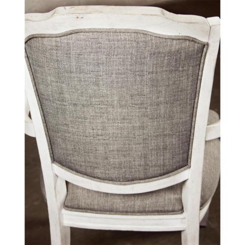 Elizabeth - Upholstered Arm Chair - Smokey White Finish