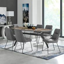 Andes and Quartz Gray Fabric 7 Piece Rectangular Dining Set