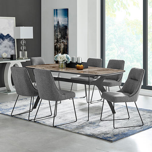 Andes and Quartz Gray Fabric 7 Piece Rectangular Dining Set