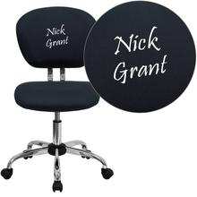 Personalized Mid-Back Gray Mesh Swivel Task Chair with Chrome Base