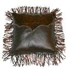 Med Leather Pillow W/Twisted Fringe DISCONTINUED Product Image