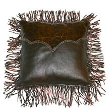 Med Leather Pillow W/Twisted Fringe DISCONTINUED