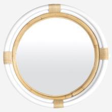 "35"" Marina Round Rattan Mirror, White"