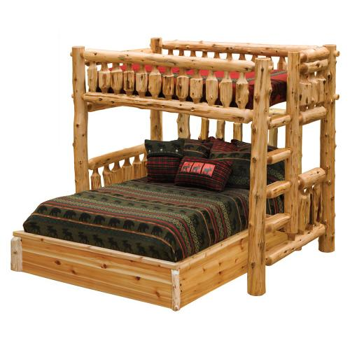 Traditional Loft Bed - Single - Natural Cedar - Ladder Right
