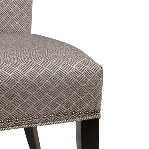 Dresden Fabric Dining Side Chair Black Legs, Basket Weave Gray