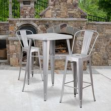 "Commercial Grade 23.75"" Square Silver Metal Indoor-Outdoor Bar Table Set with 2 Stools with Backs"