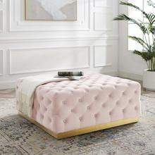 Ensconce Tufted Performance Velvet Square Ottoman in Pink