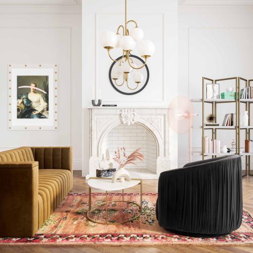 Tov Furniture - London Black Pleated Swivel Chair