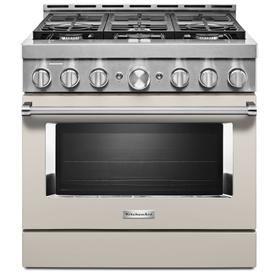 KitchenAid® 36'' Smart Commercial-Style Gas Range with 6 Burners - Milkshake