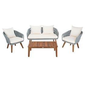 Prester 4pc Living Set - Grey Rope / Beige Cushion / Natural Legs