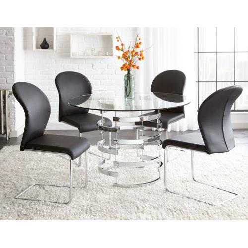 Gallery - Tayside 5 Piece Set(Glass Top Table & 4 Side Chairs)