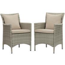 Conduit Outdoor Patio Wicker Rattan Dining Armchair Set of 2 in Light Gray Beige