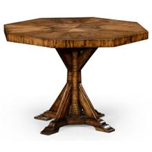 Country living style walnut octagonal centre or dining table