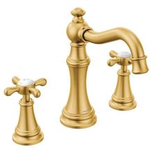 Weymouth brushed gold two-handle bathroom faucet
