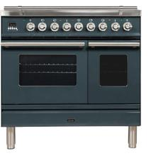 Professional Plus 36 Inch Dual Fuel Natural Gas Freestanding Range in Blue Grey with Chrome Trim