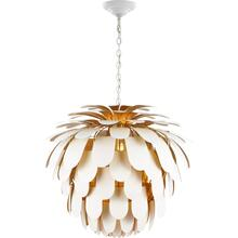 Visual Comfort CHC5158WHT/G E. F. Chapman Cynara 6 Light 37 inch White with Gild Chandelier Ceiling Light, Grande