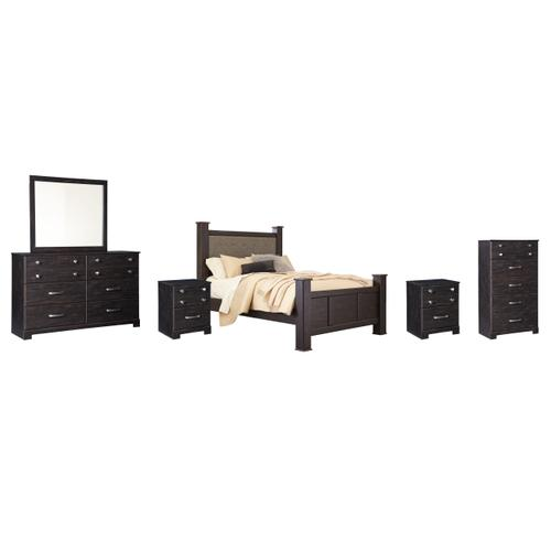 Ashley - Queen Poster Bed With Mirrored Dresser, Chest and 2 Nightstands