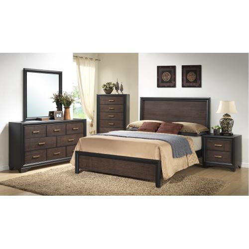 Emerald Home Prelude King Panel Bed Headboard & Footboard Honey Black/brown B588-12hb-fb