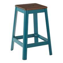 "Hammond 26"" Metal Barstool With Darkwood Seat and Frosted Teal Frame Finish"