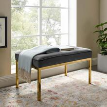 Loft Gold Stainless Steel Leg Medium Performance Velvet Bench in Gold Gray