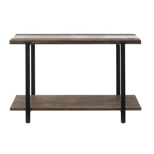 Dumont Sofa Table, Brown Mahogany Finish with Black Metal Base