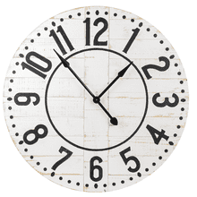 See Details - Round White Shiplap Wall Clock