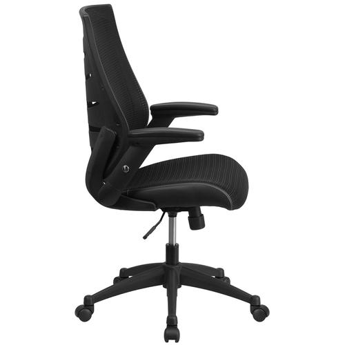 Gallery - High Back Designer Black Mesh Executive Swivel Ergonomic Office Chair with Height Adjustable Flip-Up Arms