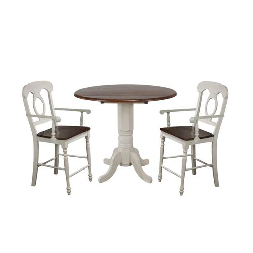 Napoleon Barstools w/Arms - Antique White with Chestnut Seat (Set of 2)