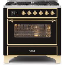 View Product - Majestic II 36 Inch Dual Fuel Natural Gas Freestanding Range in Glossy Black with Brass Trim