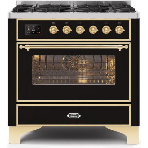 Ilve - Majestic II 36 Inch Dual Fuel Natural Gas Freestanding Range in Glossy Black with Brass Trim