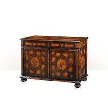 See Details - A walnut, burl and blonde burl side cabinet