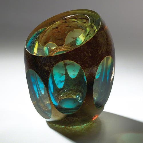 Molten Jewel Vase-Aqua