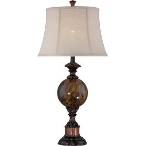 Table LAMP,ANT.BRZ/FAUX Marble/linen Shd,e27 Cfl 25w/3-way