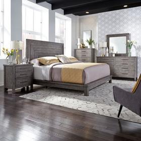 King Platform Bed, Dresser & Mirror, Chest, Night Stand
