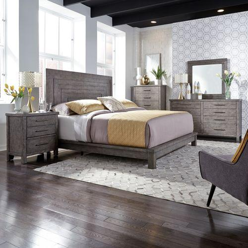 King Platform Bed, Dresser & Mirror, Chest, Night Stand