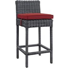 Summon Outdoor Patio Sunbrella® Bar Stool in Gray Red