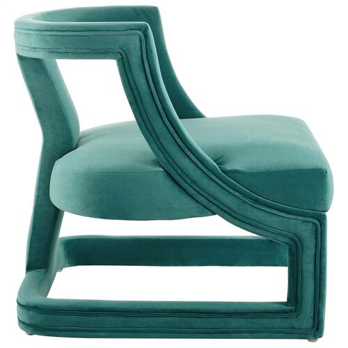 Requisite Accent Lounge Performance Velvet Armchair in Teal