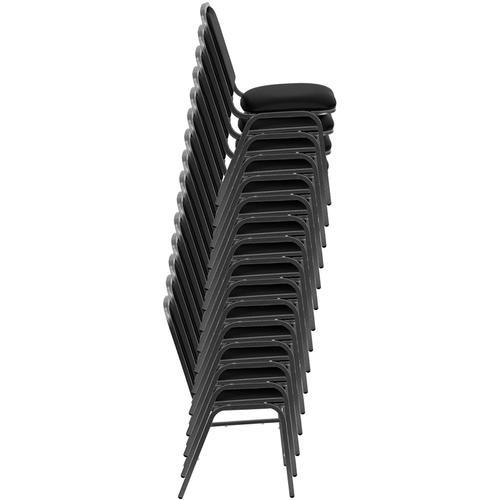 Flash Furniture - HERCULES Series Stacking Banquet Chair in Black Vinyl - Silver Vein Frame