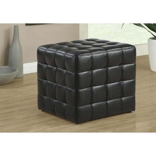 Gallery - OTTOMAN - BLACK LEATHER-LOOK FABRIC