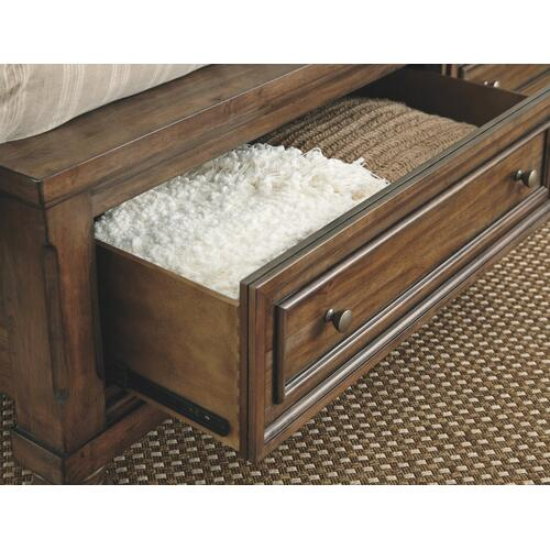 California King Panel Bed With 2 Storage Drawers With Mirrored Dresser and 2 Nightstands