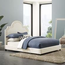 Primrose Queen Performance Velvet Platform Bed in Ivory