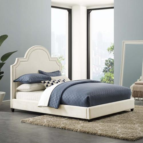 Modway - Primrose Queen Performance Velvet Platform Bed in Ivory