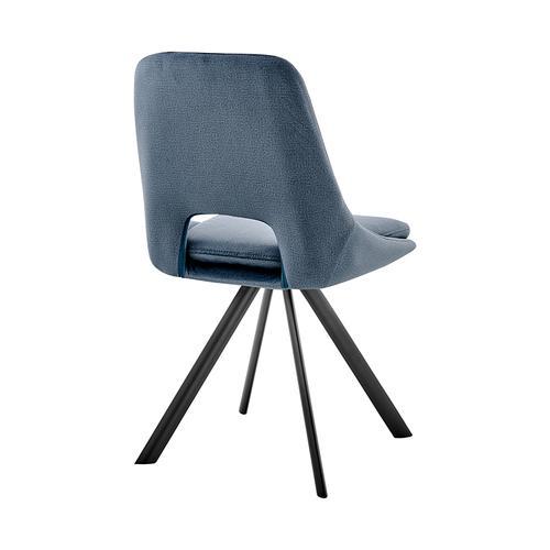 Armen Living - Lexi Dining Room Accent chair in Blue Velvet and Black Finish - Set of 2