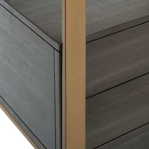 Skylar 4 Tier 1 Drawer Etagere - Gold / Grey Oak