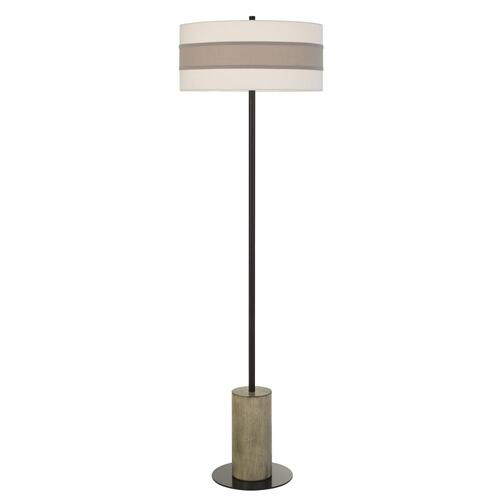 Jumilla Wood/Metal Floor Lamp With Drum Shade Highlighted With Plantium Grey Trim