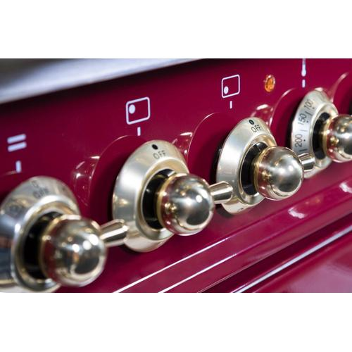 Nostalgie 36 Inch Dual Fuel Natural Gas Freestanding Range in Burgundy with Brass Trim