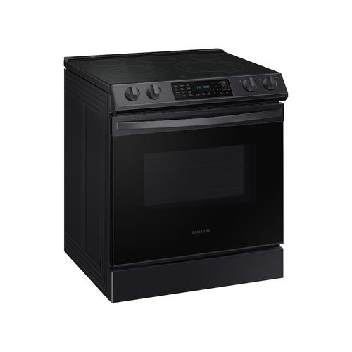 6.3 cu ft. Smart Slide-in Electric Range with Convection in Black Stainless Steel